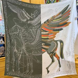 100% Twill Silk Scarf Vintage Fly Horse Shawl Hijab Sand Wash Kerchief 135*135cm