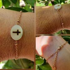 Bracelet Chaine reglable plaqué or rose Médaille nacré et croix gold réf Gigi