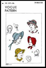 """BABY BONNET Sewing Pattern Vogue #2271 Regency Style CHILD Sunbonnet Cap Hat 19"""""""
