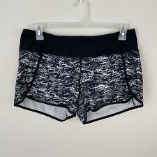 Lululemon Run Times Shorts Black White Nami Wave Women's Size 10 Lined