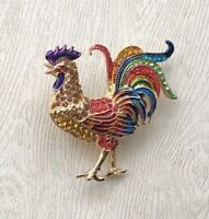 Vintage style Rooster brooch enamel gold Tone metal with crystals