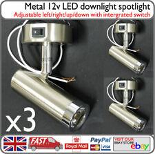 12v LED Reading Spot Light Lamp Down Light Metal 3w w/ Switch x3 Motorhome Barge