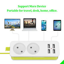 Power Strip Surge Protector Cord W/ 2 AC Outlet 4 USB Ports For Travel EU Plug