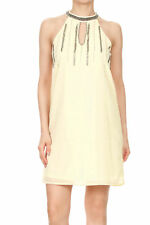 Fashion Sexy Womens Art Deco Beaded Collar Loose Sleeveless Cocktail Shift Dress