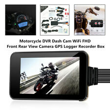 "4"" Motorcycle DVR Dash Cam WiFi FHD Front Rear View Camera GPS Logger Recorder"