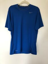 Mens Nike Pro Dri Fit Blue Short Sleeve Athletic Workout Shirt - Size Large