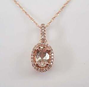 2.10 Ct Oval Shape Pink Morganite Diamond Halo Pendant Necklace Rose Gold Plated