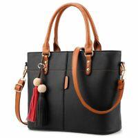 Large Capacity Tassel Tote Bag Women Soft Leather Ladies Handbag Crossbody Me 1I