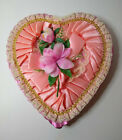 Vintage Pink Satin & Lace Heart Shaped Valentines Candy Box W/ Plastic Flowers