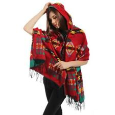 Women Bohemian Scarf Boho Hooded Cape Cloak Warm Jacket Coat Poncho Shawl Tops Purple