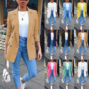 Womens Longline Blazer Suit Slim Ladies Coat Formal Jacket Slim Plus Size 6-20