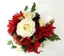 Grabgesteck Schale Rot Weiß Weihnachtsstern Rosen Seidentanne Kunstblumen Zapfen