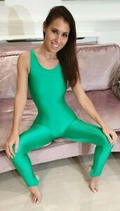 "Green Shiny Lycra Sleeveless Catsuit Dance Unitard Spandex Small UK 8 32"""