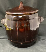 Vintage Brown Glaze Stoneware Crock Bean Pot With Handles and Lid Pottery