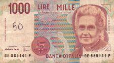 BANCONOTA ITALIANA DA 1000 LIRE MONTESSORI SERIE GE SC-7