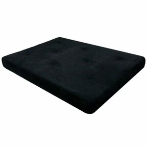 """Futon Mattress Only 6"""" Full Size Tufted w/ Twill Cotton Microfiber Black Cover"""