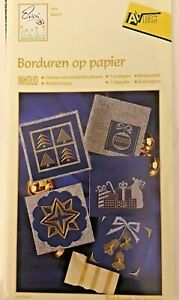 Embroidery on Paper Kit Christmas Cards. 4 Cards Pre Printed Patterns Used