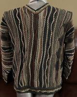 Vintage 90s Croft & Barrow Coogi Style Sweater Biggie Hip Hop 3D Textured Men L
