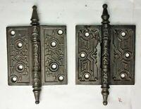 """2 Assorted Antique Steeple Tip Cast Iron Eastlake Victorian Door Hinges 4"""" x 4"""""""