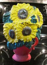 VINTAGE CAST IRON FLOWERS IN POT DOOR STOP WEDGE Yellow Green Brown Red GUC