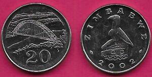 ZIMBABWE 20 CENTS 2002 UNC BIRCHENOUGH BRIDGE OVER THE SABI RIVER,VALUE BELOW,BI
