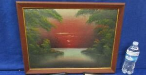 """Vintage Framed Sunset Oil Painting by Yolly 15 3/8"""" x 20 1/4"""""""
