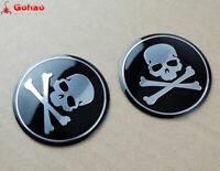 Skull Skeleton Oil Tank Fairing Decal Sticker Badge Emblem Choppers Bobbers Pair