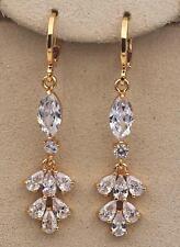 """White Topaz Chain Gemstone Eardrop Hoop 18K Gold Filled 1.77"""" Earrings Flower"""