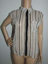 Sleeveless Striped Polyester Button Down Shirt Women's Tops & Blouses