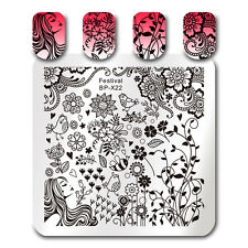 Square Nail Art Stamping Template Festival Flower Bird Image Plate BORN PRETTY
