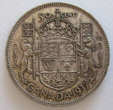 1937 CANADA 50¢ KING GEORGE VI FIFTY CENT .800 SILVER HALF DOLLAR COIN