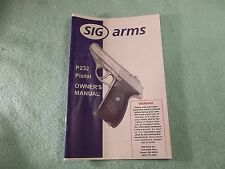 SIG Arms P232 Pistol Owner's Manual, 23 Pages of information