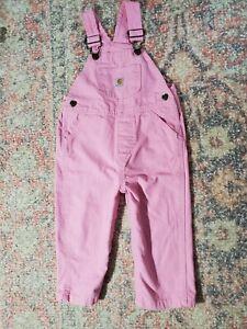 Baby Girl Carhartt Pink Bib Overalls-Toddler Size 18 Months-VGC