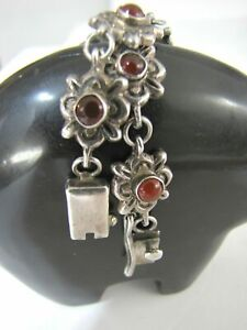 Vintage Sterling Silver Bracelet Taxco Artisan Jewelry Mexico Opal Floral Link