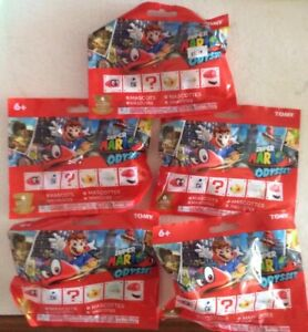 SUPER MARIO ODYSSEY MASCOTS LOT OF (5) BLIND BAGS SEALED NEW HOT SHIPS FAST