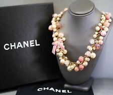 Chanel Faux Pearl CC Logo Pink Bow Necklace NIB