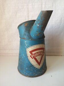 Ancien broc à huile en tôle PURFINA