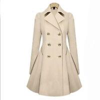 Women's Windbreaker Parka Slim Long Trench Coat Jacket Lapel Warm Outwear Tops