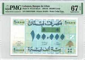 Lebanon 100000 Livres 1994 P-74 PMG 67 EPQ