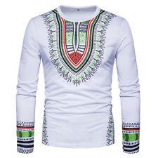 Men's African Shirt Dashiki Tribal Print Succunct Hippie T-Shirt Tee Tops Blouse