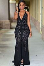 Abito lungo aperto Nudo scollo spacco strass aderente Jeweled Slit Gown Dress