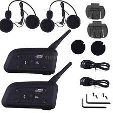 2x V6 1200M BT Motorcycle Bluetooth Headset Intercom Interphone Helmet Handsfree