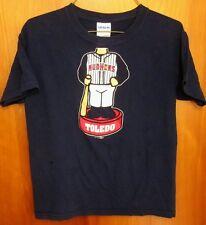TOLEDO MUD HENS youth med tee Ohio baseball T shirt bobblehead kids beat-up tee