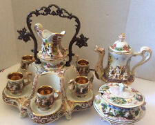 VTG R. Capodimonte Italy Demitasse Set Cups Sugar Bowl Coffee Pot & Stand Cupids