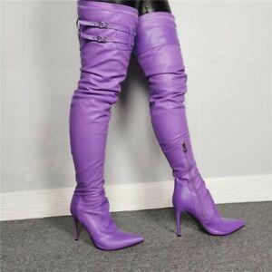 46/47 Stretch Damenpumps Sexy High Heels Schenkelhoch Stiletto Stiefel Clubwear