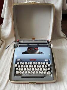 Vintage Royal Futura 800 Portable Blue Typewriter with Hard, Leather Case
