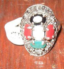 anello  ovale bijoux con pietre colorate - argentato
