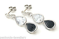 9ct White Gold Onyx Teardrop earrings Gift Boxed Made in UK