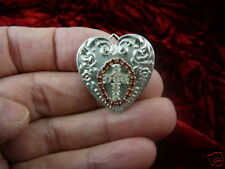 (br-195) White cross red rhinestones silver heart lover pin Wow fashion