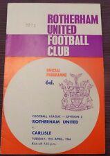 Rotherham United v Carlisle, 19 April 1966